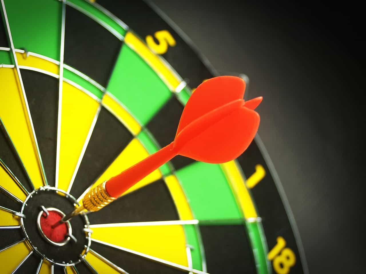 Slightly blurry closeup of the top right of a dartboard, showing a red dart in the bull's eye. This is the featured image for a blog post about creating SMART learning objectives