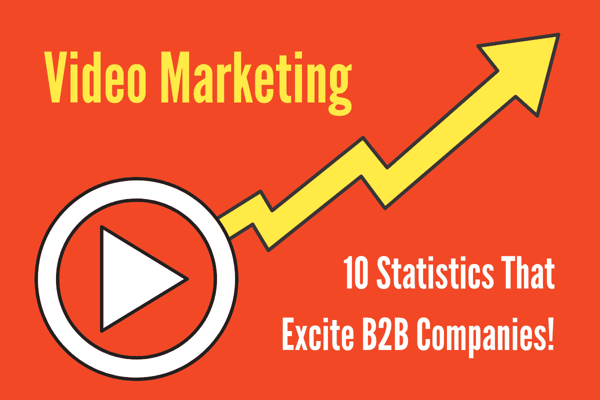 "A bright orange-red background features a giant white ""play"" icon with a bright yellow arrow shooting up from it. Makes you think of something that is ""rising"" l(like a stock price). In the top left of the image it says ""Video Marketing"" and in the bottom right it reads ""10 Statistics That Excite B2B Companies."""