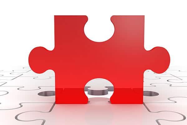 Learge red puzzle piece