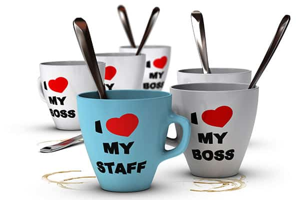 "Coffe mugs with ""I love my staff"" and ""I love my boss"" written on them"