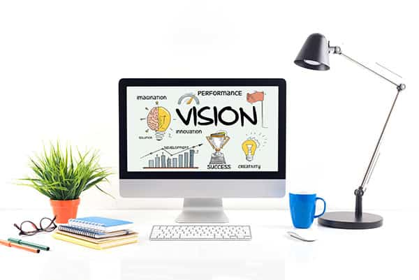 Desktop view with illustartion of 'vision' on screen