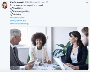 This screenshot shows a tweet by Kim Scaravelli, featuring her headshot as the profile image. She is a smiling, caucasian female, mid 40s, with shoulder length brown hair. The tweet reads: To be seen as an expert you need: Credibility, Knowledgeability, Visibility. Each item is on its own line in the tweet, with black checkmarks to the left. And there is a link to a blog post, as well as an image showing a happy, diverse group of workers in a meeting.
