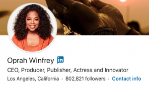 Screenshot of the LinkedIn profile header for Oprah Winfrey