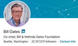 This is a screenshot of the LinkedIn profile page header for Bill Gates