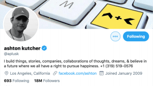 Screen shot of Twitter profile header for Ashton Kutcher